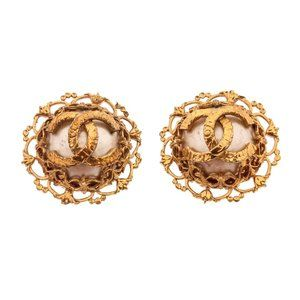 Chanel Vintage Gold-Tone Pearl Clip-On Earrings